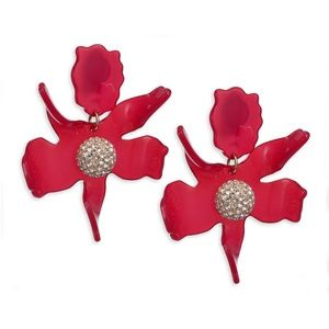 Lele Sadoughi Raspberry Crystal Lily Earrings
